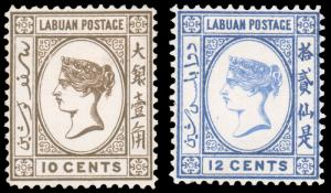 LABUAN 1892 10c BROWN 12c DEEP ULTRAMARINE MINT #36 37 10c unused 12c mint HR...