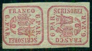 ROMANIA #12a, 6pa carmine, TETE BECHE PAIR, og, NH/LH, Scott $1,000+