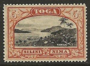 Tonga 1897-1934 View of Vavau 5/ Dull Red & Black #52 F/VF-H CV $26.00