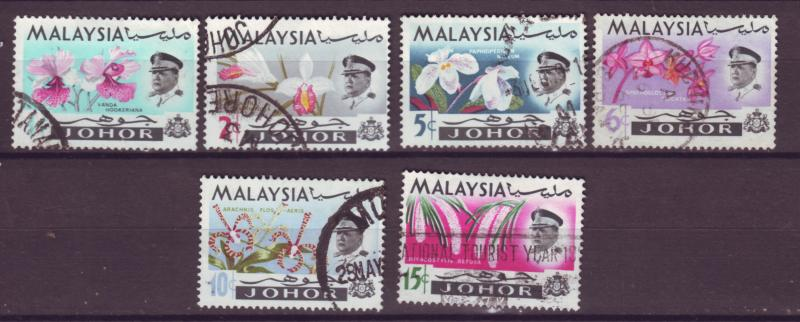 J18012 JLstamps  [low price] 1965 malaya johore part of set used #169-74 flowers