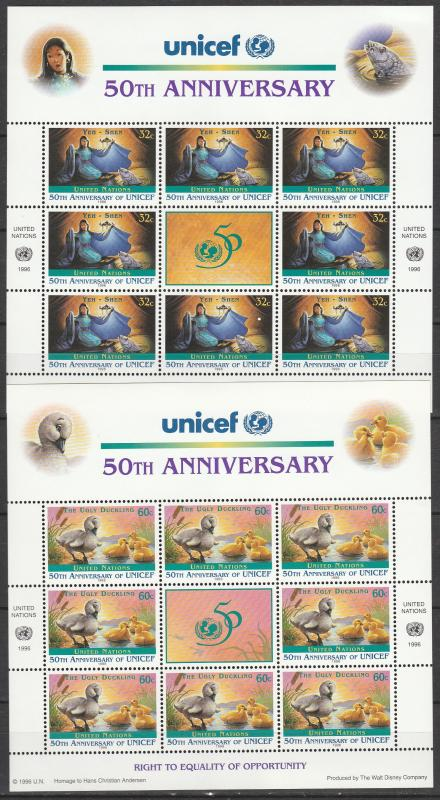 United Nations #688-9   MNH Panes Of 8 CV $12.00 (A4517L)