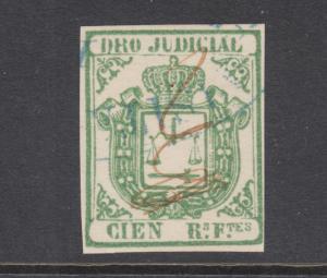 Cuba Jones AA27 used. 1863 100r green Legal Document (DERECHO JUDICIAL) fiscal