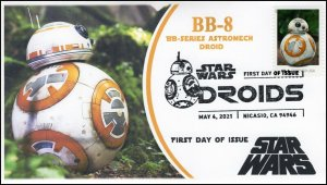 21-095, 2021,Star Wars Droids, BB-8, First Day Cover, B/W Pictorial Postmark,