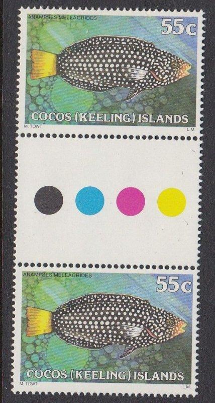 Cocos Islands 47 gutter pair MNH