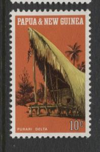 Papua New Guinea- Scott -321- Local Architecture -1971-MNH-Single 10c Stamp