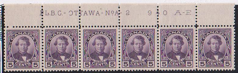 Canada - 1927 5c Darcy McGee Corner Upper Margin Imprint Strip of 6 mint #146