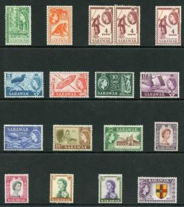 Sarawak SG188/202 Set of 15 plus extra 1 and 2 dollar M/M rest U/M