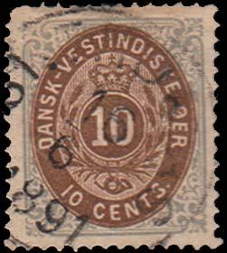 Danish West Indies Scott 10 Used with some short perforations.