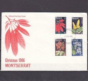 Montserrat, Scott cat. 632-635. Christmas Flowersl issue. First Day Cover. ^