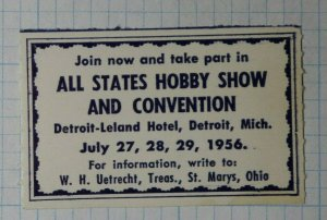 All States Hobby Show & Convention Detroit MI 1956 Expo Label Ad Poster Stamp