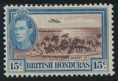British Honduras  SG 156 SC # 121  Used Chocolate shade please see scan