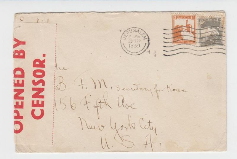PALESTINE -USA 1939 CENSOR COVER, LABEL T#4B EXAM#41, 15m RATE (SEE BELOW)