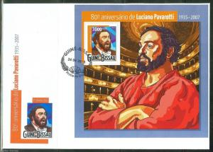 GUINEA BISSAU 2015 80th BIRTH ANNIVERSARY OF LUCIANO PAVAROTTI  S/SHEET FDC