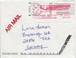 Meters $1.50 Meter 2001 [San Jose, CA] 95128 Airmail Printed matter to Treia,...