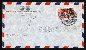 RCA VICTOR MEXICO TO RCA VICTOR NY AIRMAIL COVER - 1951