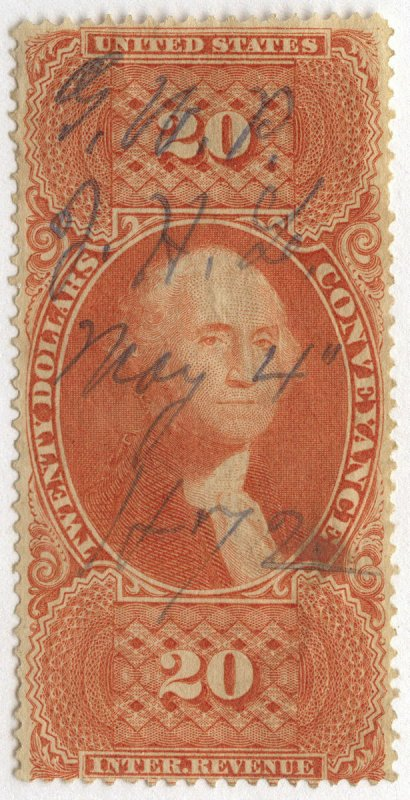1081 U.S. Revenue Scott R98c $20 Conveyance, 1872 manuscript cancel, SCV = $125