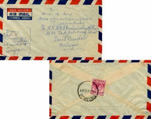 Singapore 10c KGVI 1952 Singapore Airmail to Parit Bundar, Malaya.  Reverse f...