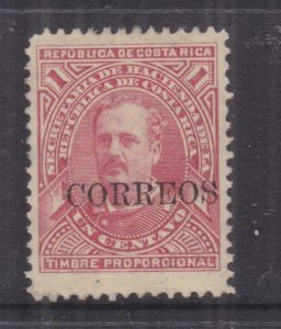 COSTA RICA, 1887 CORREOS on Fiscal 1c. Red, lhm.