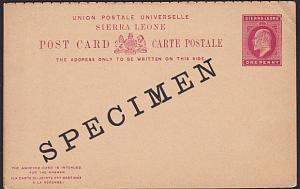 SIERRA LEONE GVII 1d + 1d Reply card ovptd SPECIMEN.........................7611