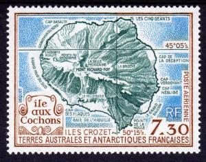 FSAT 1990 Sc#C109 Isle of Pigs Crozet Islands Map (1) MNH