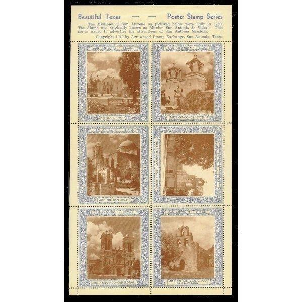 US 1940 San Antonio, Texas Missions Poster Stamps