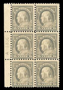 momen: US Stamps #437 Mint OG Plate Block of 6