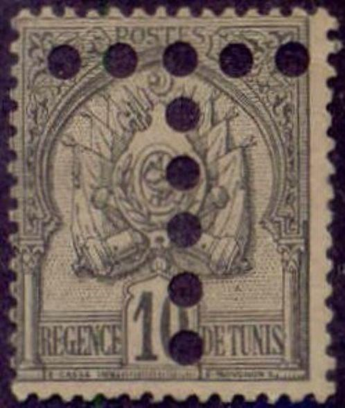 Tunisia 1888-98'T' Postage Due Perfin on 10c Coat of Arms Stamp