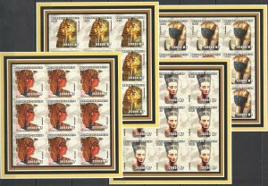 KV236 IMPERFORATE 2002 MOZAMBIQUE NEW ART MONUMENTS THE QUEENS OF EGYPT 9SET MNH
