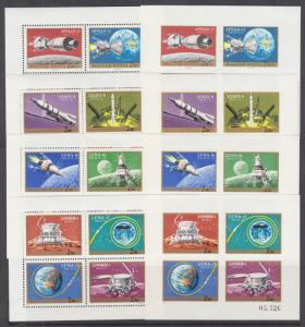 Hungary Sc C308-C311 MNH. 1970-1971 Manned Space Miissions, perf & imperf S/S-s