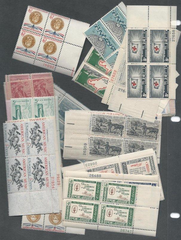 40 US Plate Blocks, Mint OG-w/DG