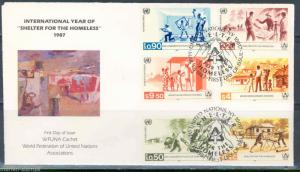 UNITED NATIONS WFUNA INTERNATIONAL YEAR OF THE SHELTER TRIPLE FRANK & CANCEL FDC