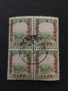China stamp memorial block, used, Genuine, Manchukuo, RARE cancel,    List 1306