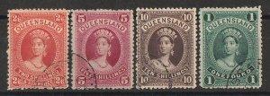 QUEENSLAND 1882 QV Large Chalon 2/6 5/- 10/- & £1 CTO