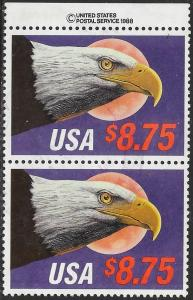 US 2394 Used Pair - Plate Number Single - $8.75 Express Mail - Eagle