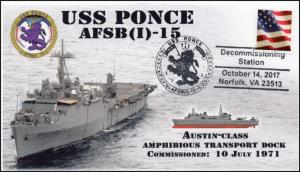 17-307, 2017,USS Ponce, Event Cover, Pictorial Postmark, AFSB(I)-15