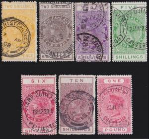 NEW ZEALAND 1880 Stamp Duty 7 values 2/6 to £1 used.........................4734