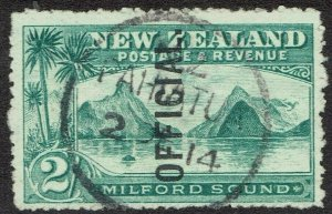 NEW ZEALAND 1907 OFFICIAL MILFORD SOUND 2/- USED
