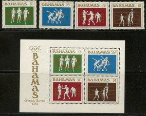 BAHAMAS Sc#559-562, 562a 1984 Summer Olympics Set & S/S OG Mint H & NH