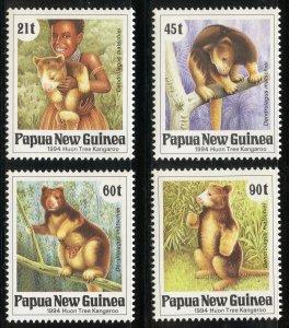 Papua New Guinea Scott 819-22 MNHOG - 1994 Huon Tree Kangaroo Set - SCV $7.85