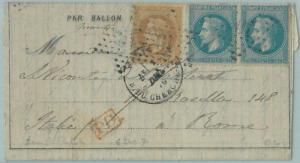 68800 - FRANCE - Postal History -  BALLON MONTE cover 1870 - CALVES - VERY RARE!