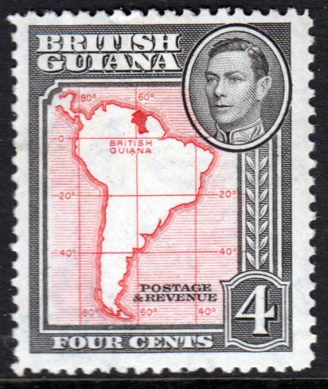 British Guiana KGVI 1938 4c Scarlet Black SG310 Mint Lightly Hinged