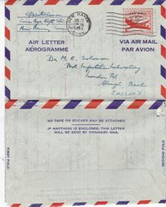 United States 1956 10c Aerogramme New Haven Connecticut-Slough UK used VGC