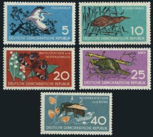 Germany-GDR 434-438,hinged.Mi 688-692. Heron,Bittern,Butterfly,Beaver,Bee,1959.