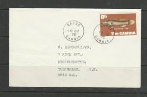 Gambia 1975 Cover, 8b Fish def, Pmk BASSE, Imprint address