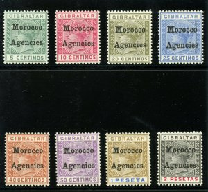 Morocco Agencies 1899 QV set complete MLH. SG 9-16. Sc 12-19.