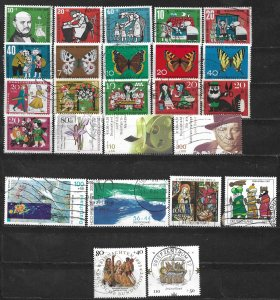 COLLECTION LOT OF 25 GERMANY  SEMI POSTAL 1959+ STAMPS CV + $24