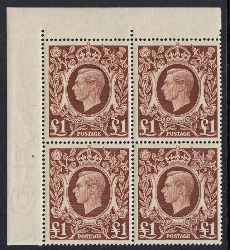 GB KGVI 1939-1948 £1 Brown Corner Block x 4 SG478c Mint Never Hinged MNH UMM