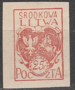 Central Lithuania #1  F-VF Unused   Imperf (S9032)