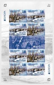 Stamps Bosnia and Herzegovina Mostar 2018 - Europa 2018 - Bridges - Sheet.