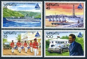 Vanuatu 397-400,400a,MNH.Michel 703-706,Bl.8. Patrol Boat,Fishing fleet,Port,